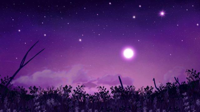 Good night hello full moon starry sky illustration llustration image