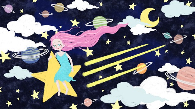 original hand painted starry girl illustration llustration image illustration image