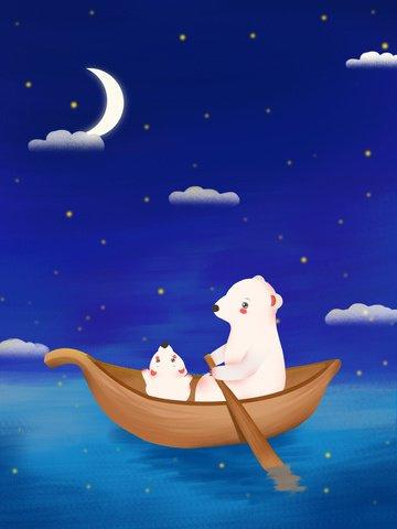 Mothers day healing hand painted illustration dreamland bear illustration image