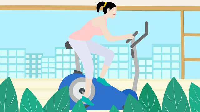Small fresh national fitness day riding bicycle original illustration llustration image