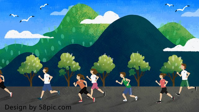 国民体操デー、走る人、オリジナルの手描きイラスト イラスト素材