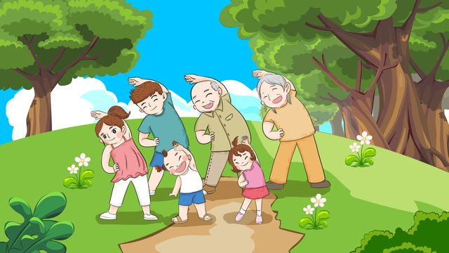 Национальный день фитнеса вся семья делая упражнения фитнес ручная роспись оригинальные иллюстрации Ресурсы иллюстрации