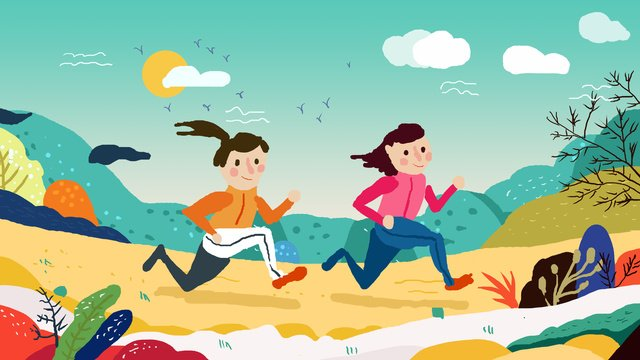 National fitness day small fresh illustration llustration image