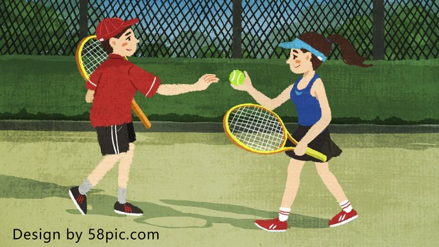 Original hand drawn illustration for children playing tennis on national fitness day llustration image illustration image