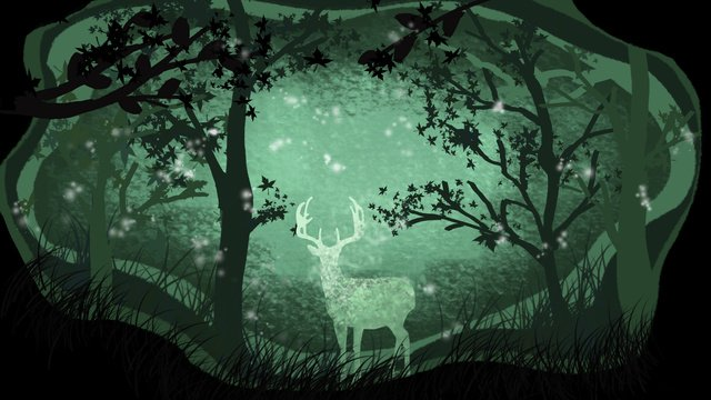 Hand drawn paper cut forest with deer cure illustration card, Night, Good Night, Hello There illustration image