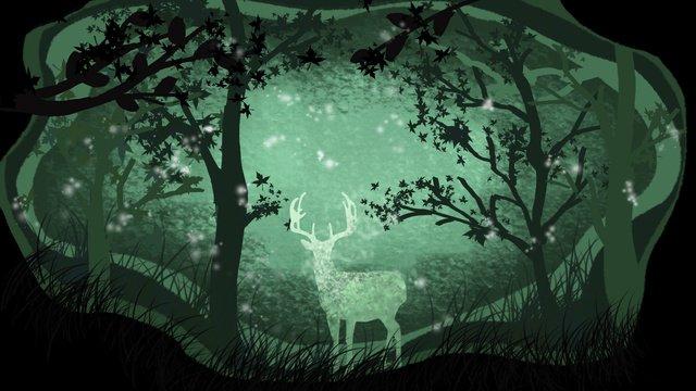 手描きの紙カット鹿治療イラストカードと森 イラスト素材