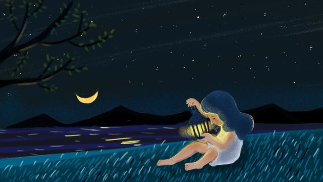 Little girl with a light on small fresh night, Night, Little Girl, Article Illustration illustration image