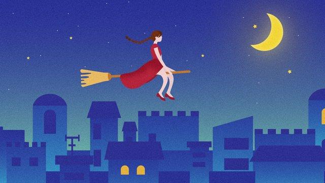 night starry sky broom red dress girl city original illustration llustration image illustration image