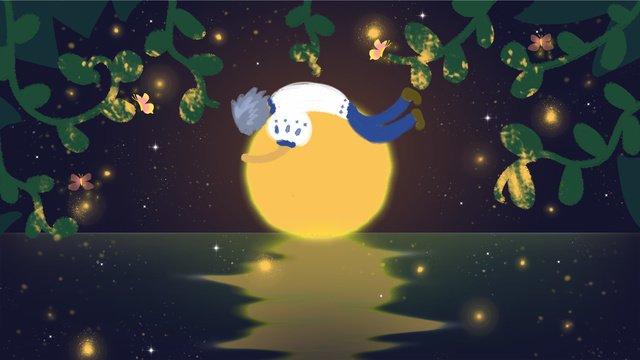 닝샤 별이 빛나는 밤 굿 나잇 little boy moon lake 삽화 소재 삽화 이미지