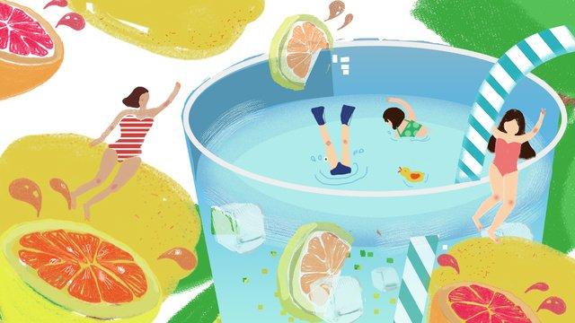 Original illustration summer girl swimming lemon refreshing llustration image illustration image