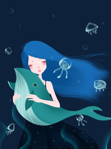 Ocean day small fresh beautiful girl whale sea bottom romantic illustration, Ocean Day, Ocean, Sea illustration image