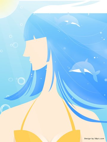 Beautiful romantic vector style long haired dolphin girl, Ocean, Dolphin, Long-haired Girl illustration image