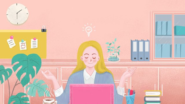 looking for an inspirational office girl llustration image