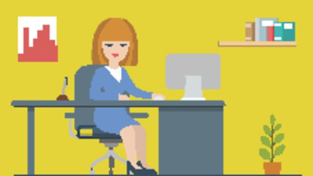 office scene desk character workplace cartoon llustration image