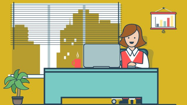 office staff desk computer cartoon plant llustration image illustration image