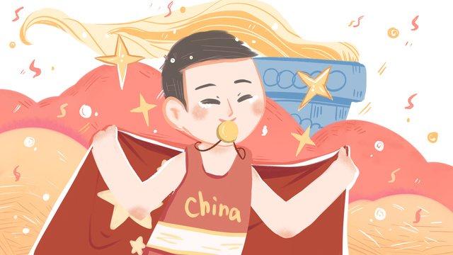 olympic anniversary hand drawn illustration athletes chinese celebration poster wallpaper llustration image