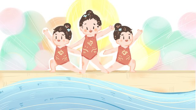olympic synchronized swimming anniversary celebration illustration hand drawn background poster llustration image
