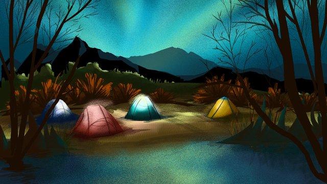 夏の夜のキャンプシーズン イラスト素材 イラスト画像