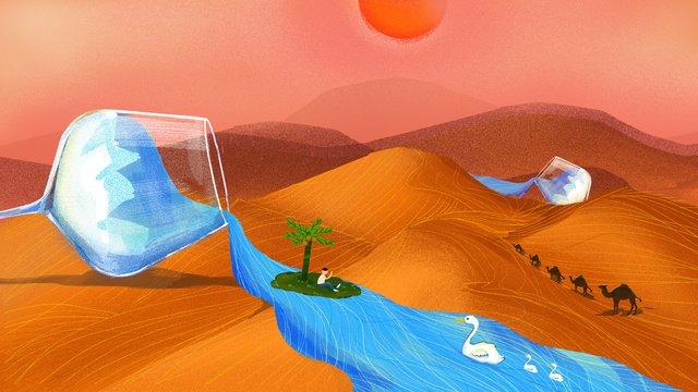 冰爽夏飲暢想與沙漠清泉 插畫素材