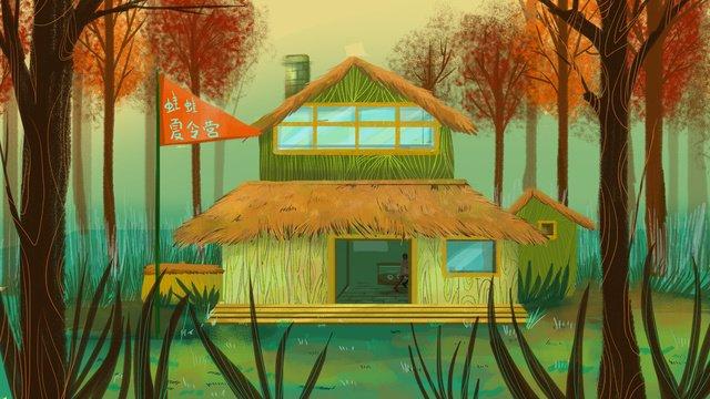夏のキャンプの森の木の家 イラスト素材 イラスト画像
