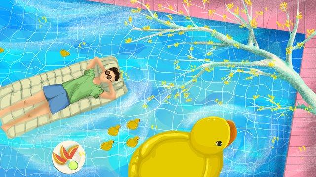연말 연시   수영장에서 한가로운 오후 삽화 소재 삽화 이미지