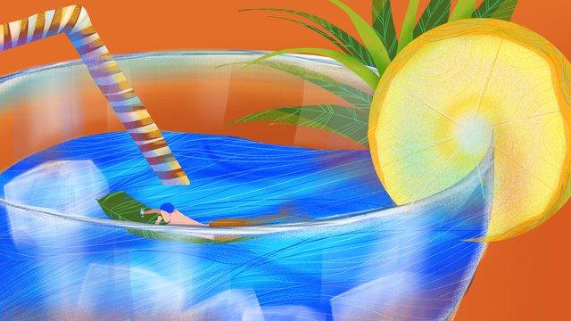 夢幻冰飲中的美人魚 插畫素材