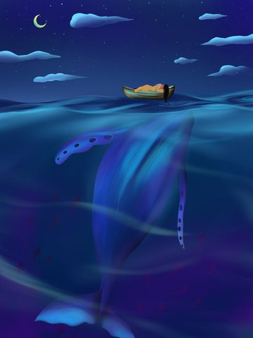 Good night world warm whales and girls illustration image