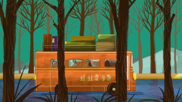 森の中のサマーキャンプシャトルワゴン イラスト素材 イラスト画像