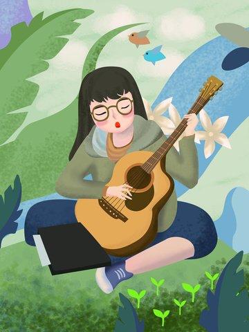 original character illustration girl playing guitar illustration image
