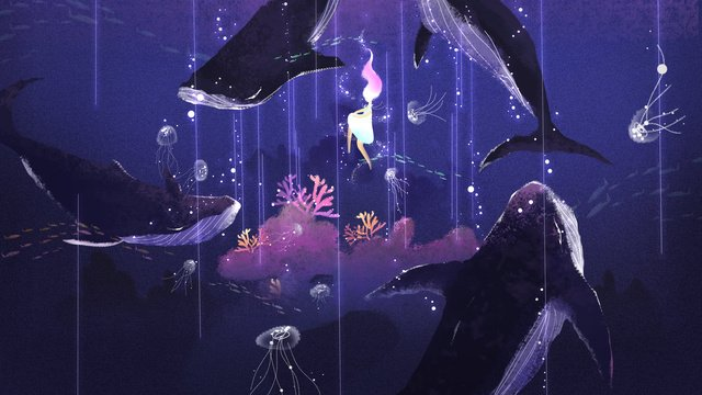 عندما يكون البحر عميقاً ، انظر الرسم التوضيحي الأصلي لنظام الشفاء مواد الصور المدرجة
