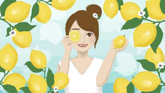 Original hand painted fresh and cool summer lemon girl llustration image