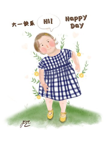Childrens day blue skirt cute girl original hand illustration, Original Hand Drawn Illustration, Childrens Day, Cute Girl illustration image