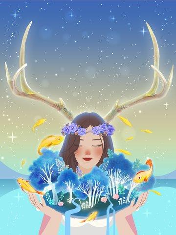 Original hand drawn illustration eco girl llustration image