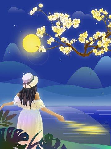 ilustrasi tangan asal yang ditarik bunga dan gadis di bawah cahaya bulan imej keterlaluan