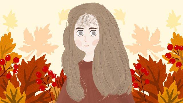 원래 손으로 그린 작은 신선한 가을 소녀 시리즈 메이플 리프 삽화 소재 삽화 이미지