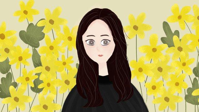 원래 손으로 그린 작은 신선한 가을 소녀 일련의 작은 노란 꽃 삽화 소재 삽화 이미지