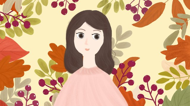 original hand painted small fresh autumn girl series of red fruit llustration image illustration image
