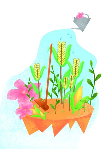 Original hand-painted small botanical garden illustration, Original Illustration, Album Illustration, Hand Drawn Plants illustration image