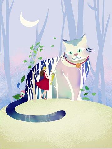 オリジナルイラスト美しい猫の森 イラスト素材