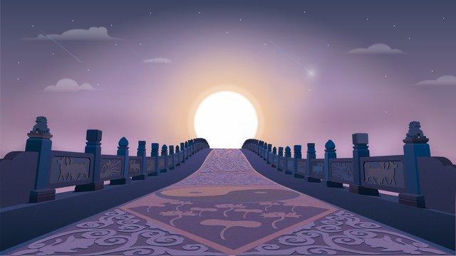 唯美紫色場景插畫建築風景插畫 插畫素材 插畫圖片
