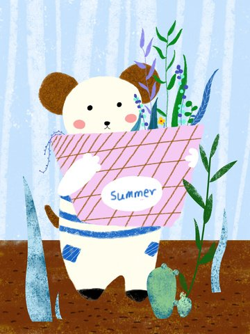 hello summer original illustration business cute dog fresh plant llustration image illustration image