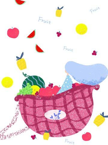 原創插畫繽紛水果女孩商業紅色黃色水果手繪 插畫素材 插畫圖片