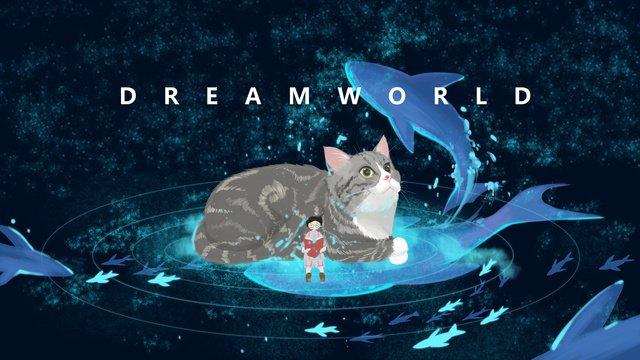 Starry cat night view artistic original illustration, Original, Illustration, Cat illustration image