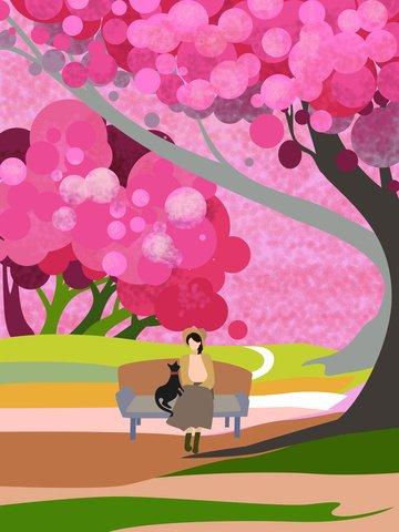 मूल चित्रण चेरी ब्लॉसम गुलाबी रोमांटिक पोस्टर चित्रण छवि चित्रण छवि