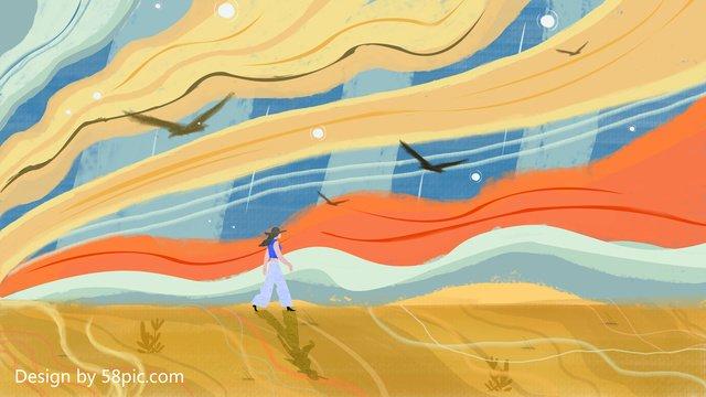 空の下を歩いて元のビンテージテクスチャイラスト イラスト素材 イラスト画像