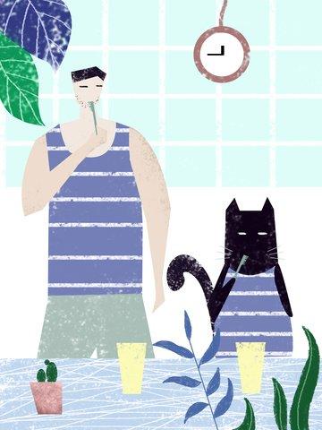 Original illustration single daily life cat creative plant character, Original Illustration, Creative Illustration, Single Daily illustration image
