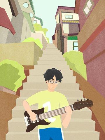 原創帥氣少年彈吉他扁平風人物場景插畫 插畫素材