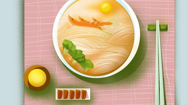 Food - seafood yangchun noodles, Original Illustration, Food, Surface illustration image