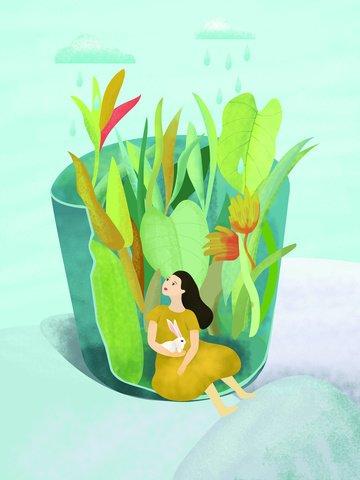 Original illustration flowerpot girl llustration image illustration image