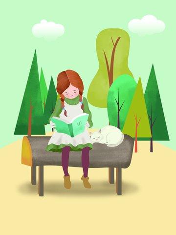 Original illustration girl reading book llustration image
